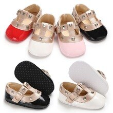 Fashion Brand New Newborn Baby Girl Bow Princess Shoes Soft Sole Crib Leather Solid Buckle Strap Fla