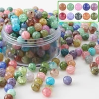 95pcs natural stone bracelet glass 8mm crystal round crackle beads for diy making necklace bangles charm crafts jewelry supplies