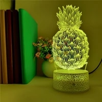 3d pineapple led night light colorful illusion table desk lamp baby sleep lampara home decor child birthday lamp app control