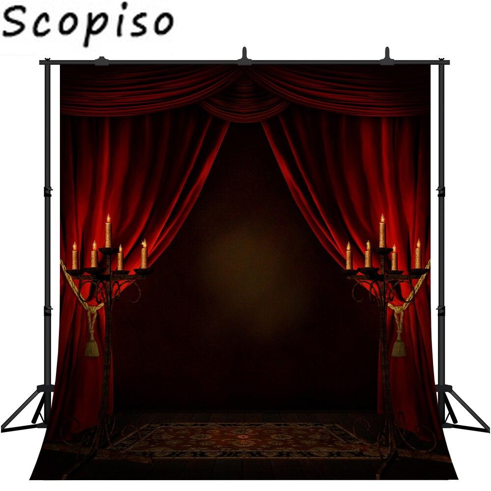Фон для фотосъемки с изображением свечи Хэллоуин ночь дом с привидениями красный занавес фото фон вампир вечерние реквизит для фотосъемки