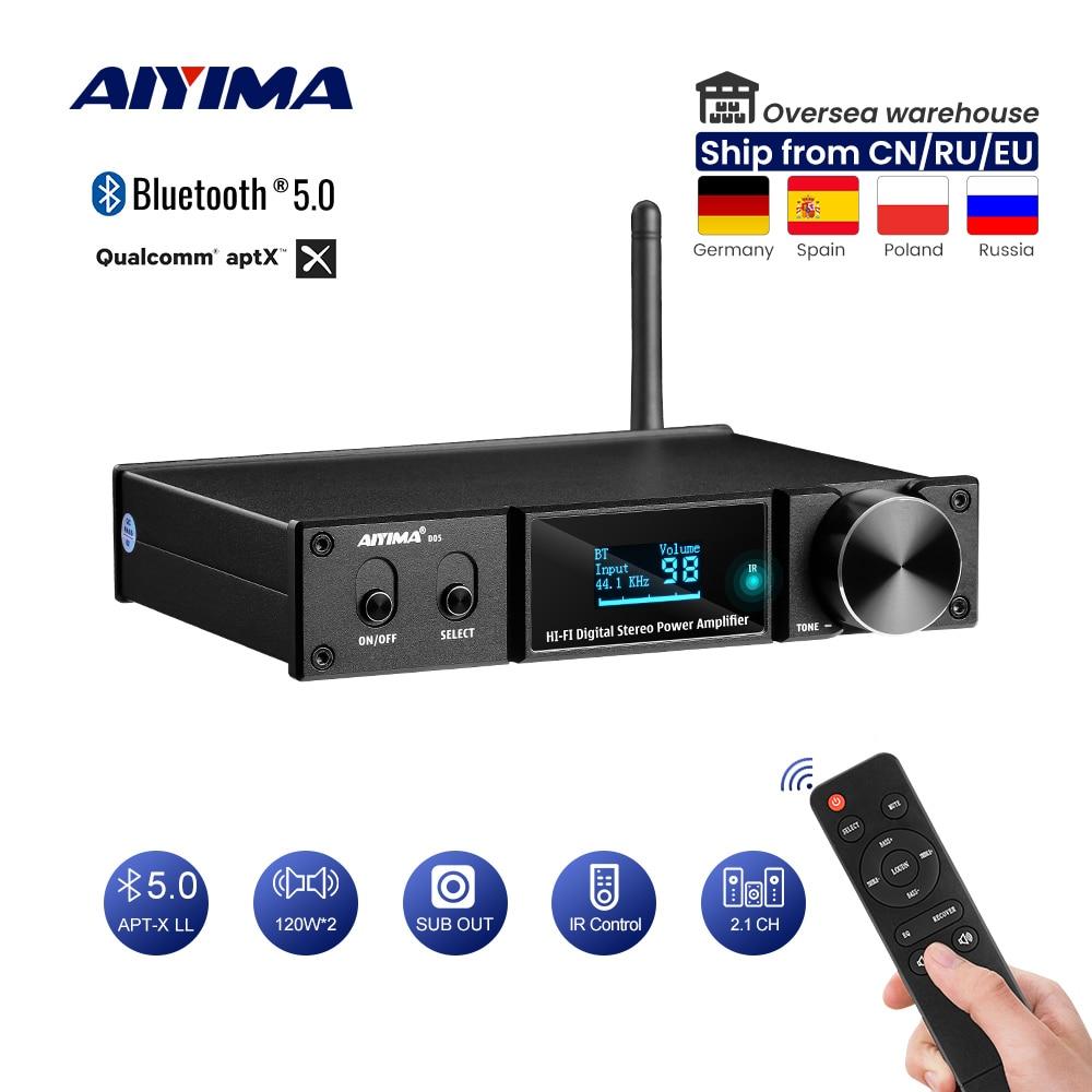 AIYIMA بلوتوث 5.0 مكبر كهربائي 120Wx2 مكبر الصوت الرقمي جهاز تضخيم الصوت USB DAC OLED APTX 2.1 المسرح المنزلي