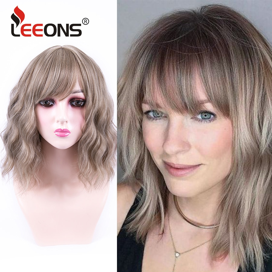 Leeons Short Wavy Wig With Bangs Bob Style Wig 16/613 Brown Pink 10 Colors Heat Resistant 14 Inch Cosplay Daily Party Wig