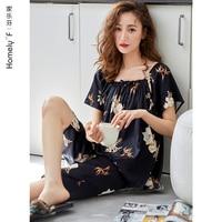 Pajamas Women\'s Summer Silk Ice Silk Short Sleeve Shorts Home Wear Summer Thin Middle-Aged Mom Imitated Silk Fabric Suit