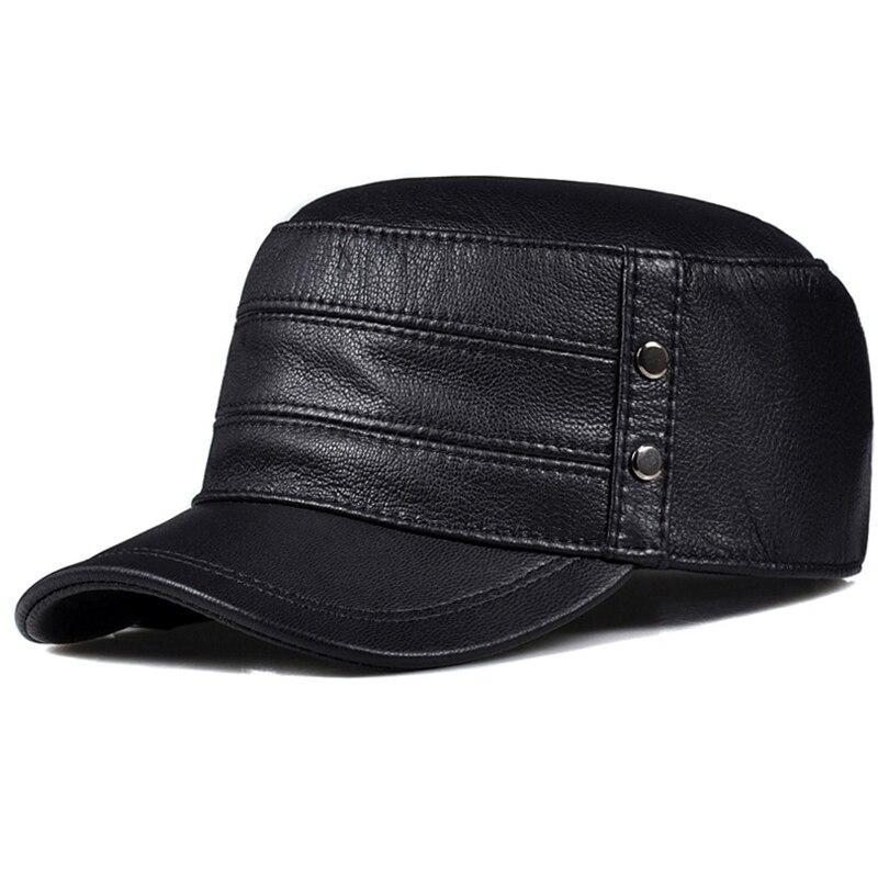 موضة الرجال النساء جودة عالية حقيقية قبعة من الجلد قبعة الشتاء الدافئة ريال الماعز الجيش العسكرية قبعات بيسبول الأسود براون