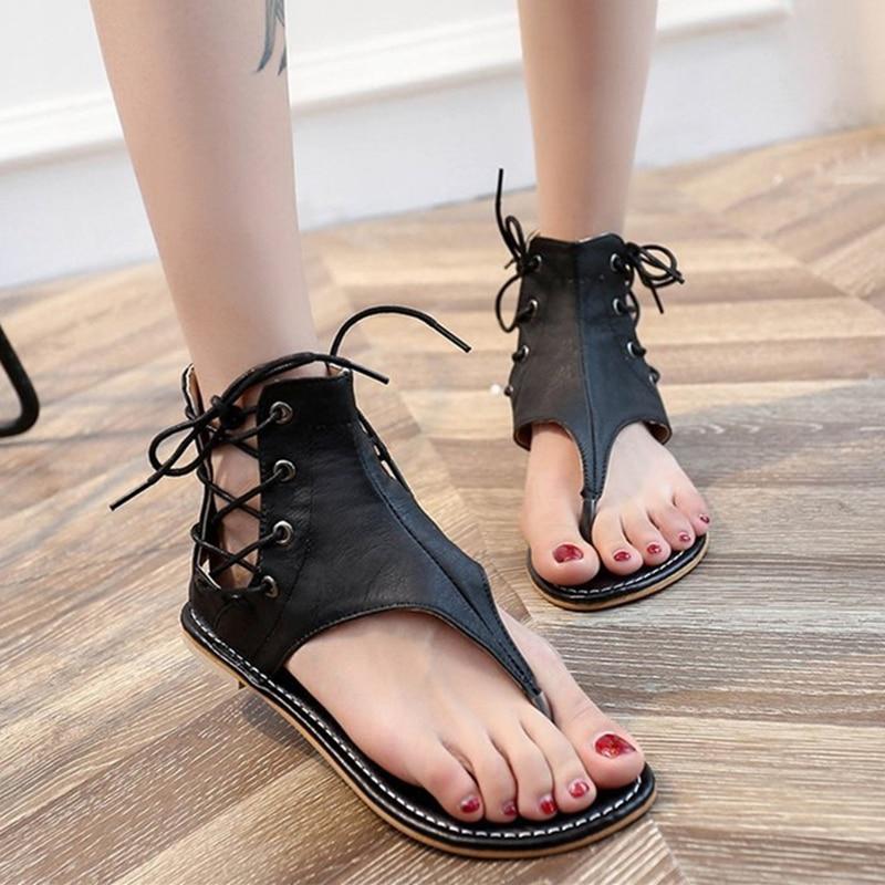 Women's flat sandals New summer 2021 Bandage Beach shoes Back zipper Flat heel herringbone sandals Retro Roman shoes 43 yards