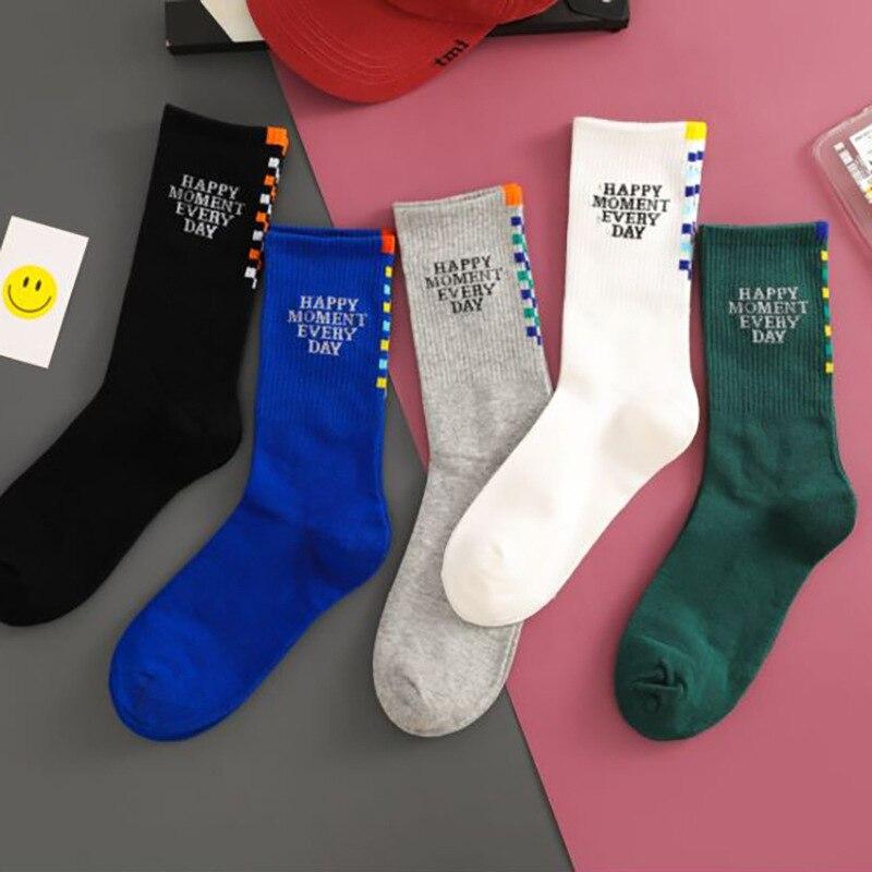 Новинка 2021, индивидуальные дышащие хлопковые носки для мужчин, красивые мужские носки с буквенным принтом, носки из чистого хлопка для маль...