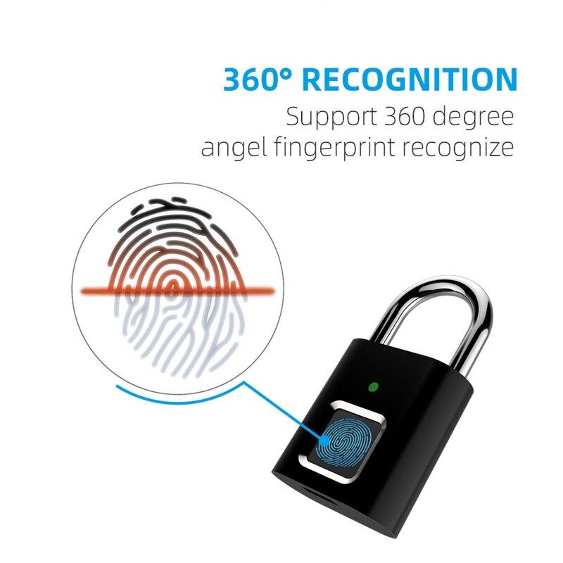 Bloqueio de cadeado de impressão digital saco de bagagem inteligente cadeado de segurança fechadura da porta biométrica keyless cadeado de armazenamento de impressão digital