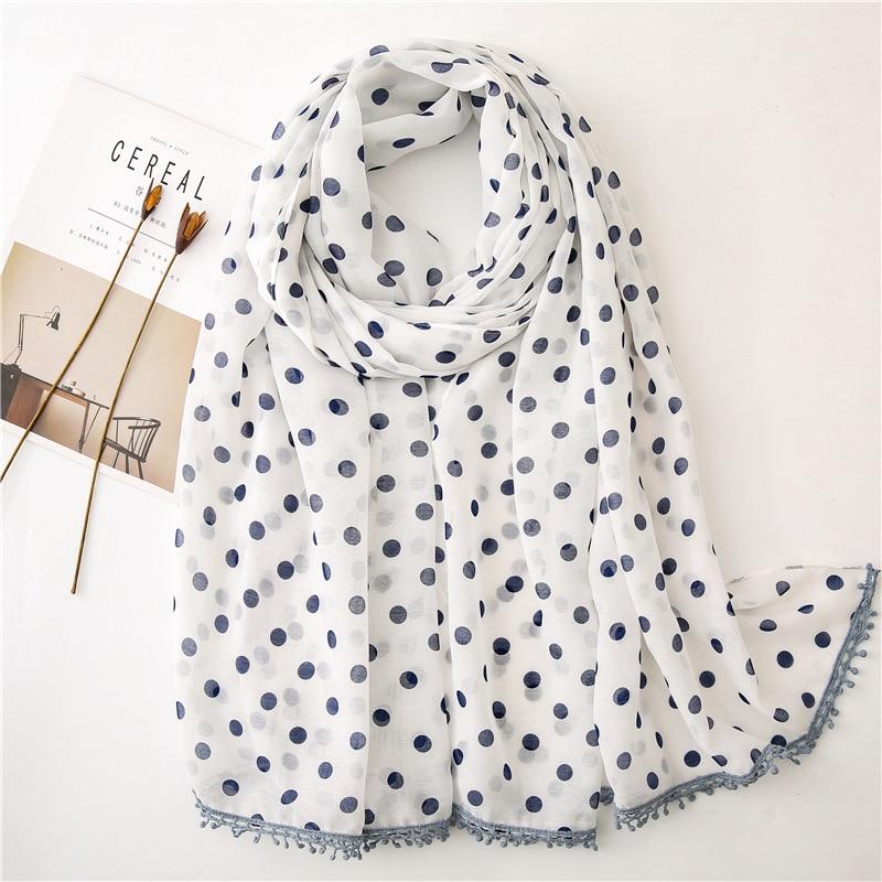 Women Spain Fashion Loop Dot Double Color Tassel Viscose Shawl Print Wrap Organza Stole Bufandas Muslim Hijab Snood 180*90Cm