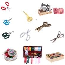 112 maison de poupée Miniature accessoires Simulation artisanat jouets métal couture ciseaux Machine à coudre meubles jouet