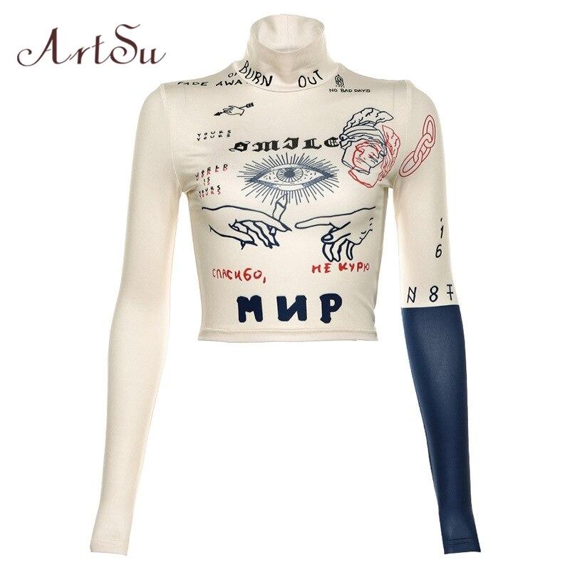 ArtSu 2019 Camiseta corta de manga larga de cuello alto para mujer Camiseta ajustada camiseta sudadera deportiva Tee ASTS60478