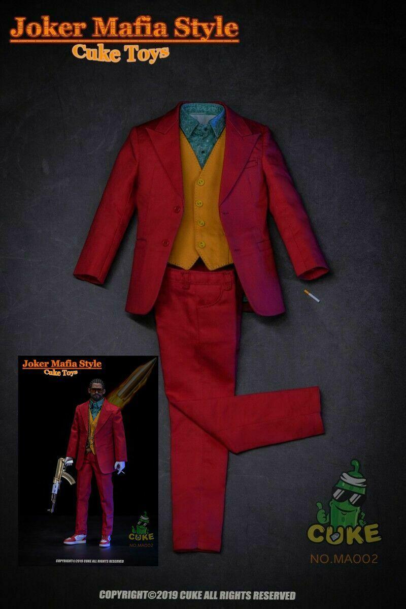 Cuke brinquedos 1/6 ma-002 coringa máfia estilo vermelho traje roupas terno modelo conjunto 12 figure figure figura roupas accessor