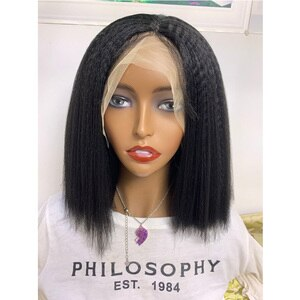 Preplucked 180% Density 10Inch Short Yaki Straight Synthetic Lace Front Wig for Black Women Babyhair Heat Resistant Glueless