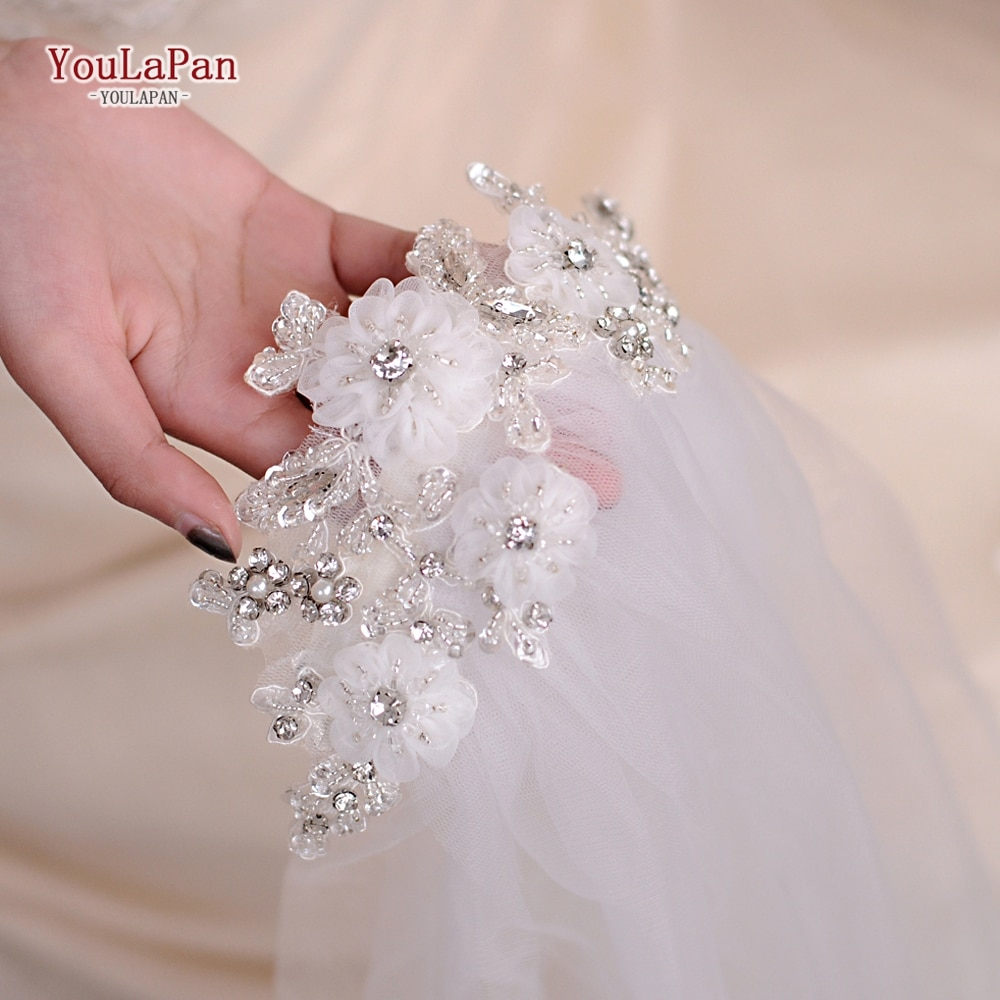 YouLaPan VS358 Wedding Veil Bridal Accessories White Wedding Veil with Flowers with Hair Comb for Wedding Party Accessories fingertip veil with small flowers
