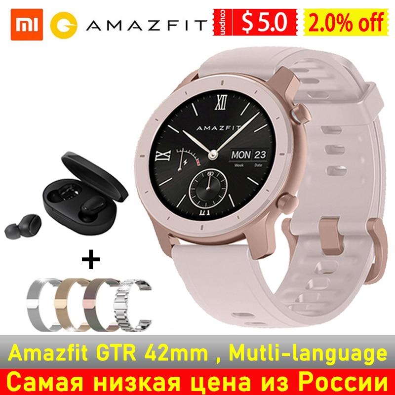Versión Global Amazfit GTR 42mm reloj inteligente 42 mujeres hombres SmartWatch AMOLED pantalla 5ATM GPS & GLONASS BT5.0 para teléfono Xiaomi IOS