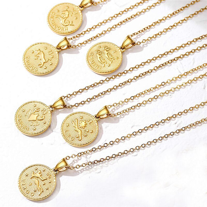 Hombres Mujeres 12 horóscopo moneda medallón Zodiaco signo COLLAR COLGANTE de animal tallar moneda 12 Constelaciones collar Horóscopo