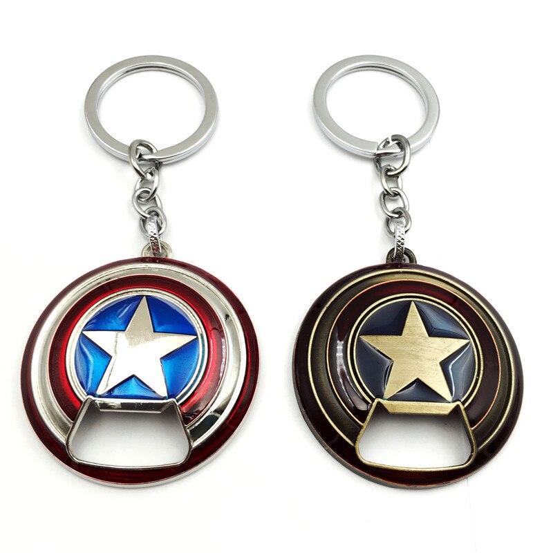 The Avengers 4 Beer Bottle Opener Keychain Captain America Star Shield Metal Pendant Key Chain Endgame Souvenir llaveros 5pcs