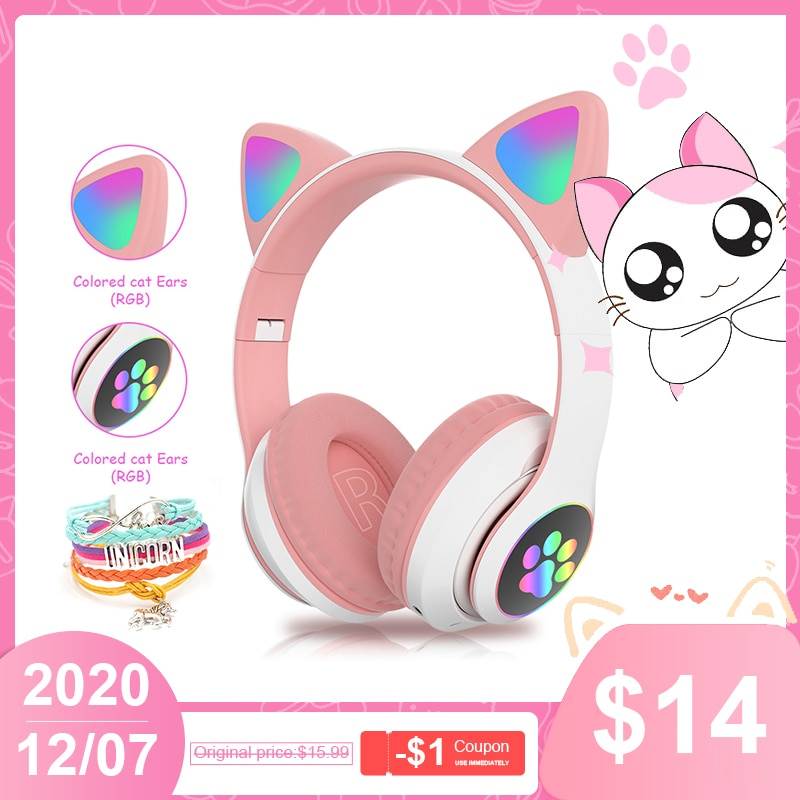 Auriculares con Oreja de Gato RGB para adultos y niños, audífonos con...