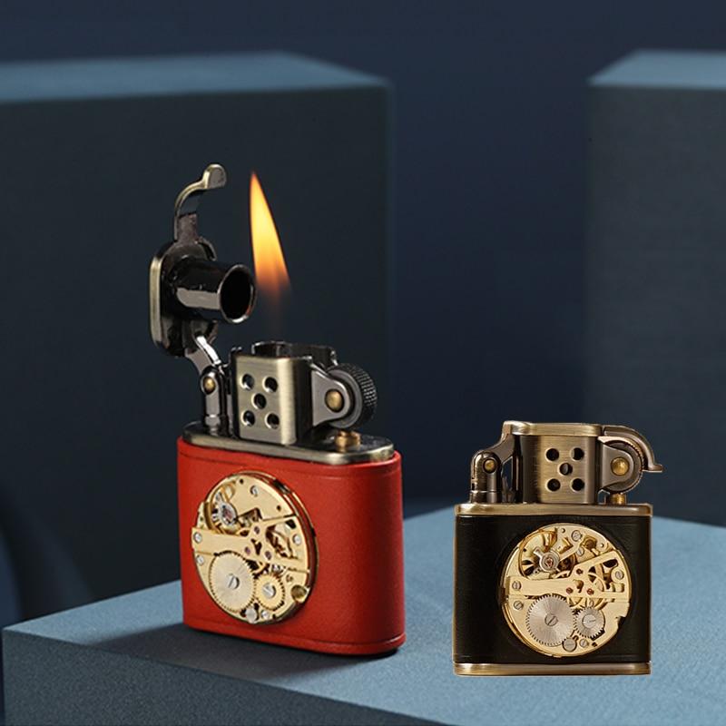 Handmade leather sewing dial creative kerosene retro lighter Valentine's day gift high-end men's sup