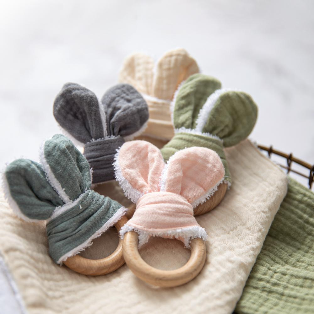 1pc Cotton Sounding Bunny Ear Rattles Toys Baby Beech Wood  Teethers Diy Bracelet Pacifier Chain Rattle