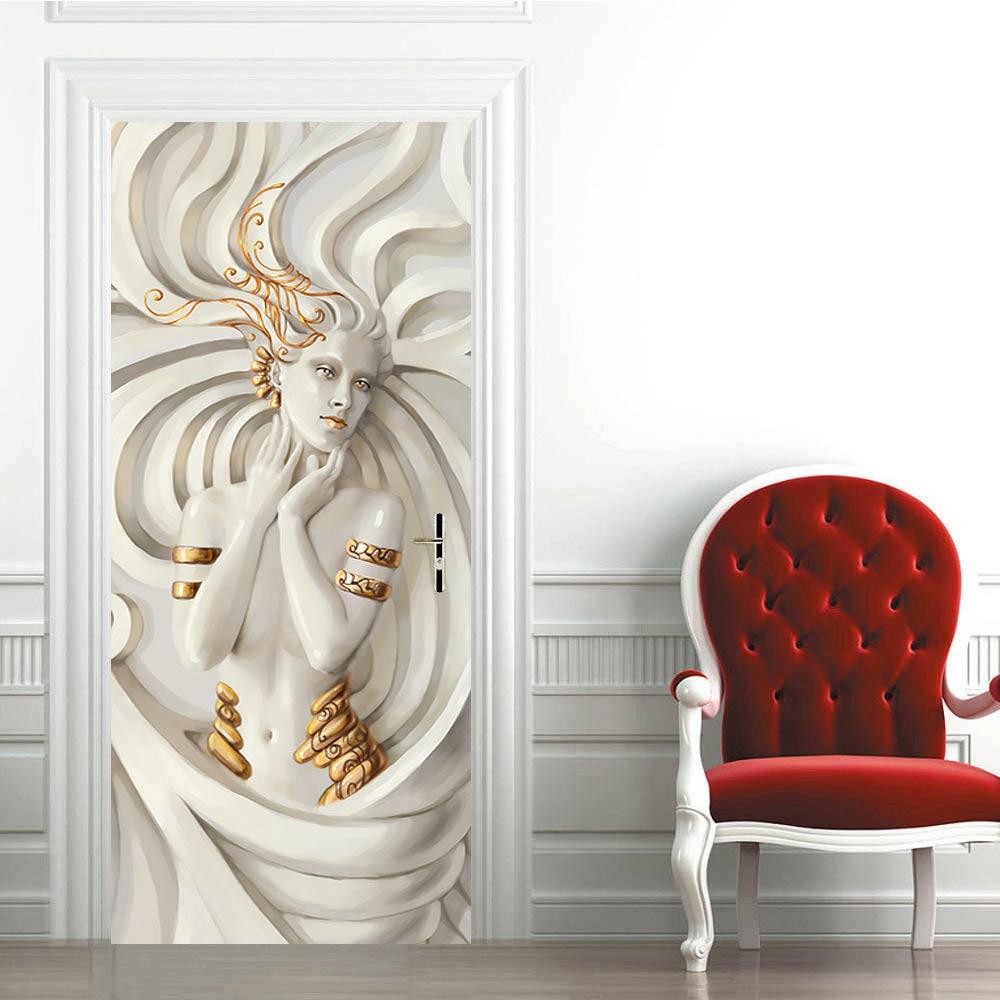 3D creative Medusa, pegatinas de puerta de estatua, pegatinas de pared autoadhesivas, a prueba de agua, extraíbles