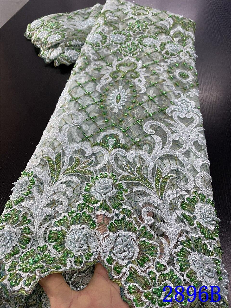 Tela de encaje hecha a mano africana, tejido de encaje con cuentas pesadas, tela de encaje de malla francesa de lujo para materiales nupciales APW2896B