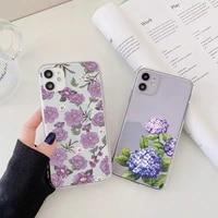 purple blue flowers phone case for iphone 12 11 pro max x xs max xr 6 7 8 plus se 2020 soft clear transparent back cover fundas