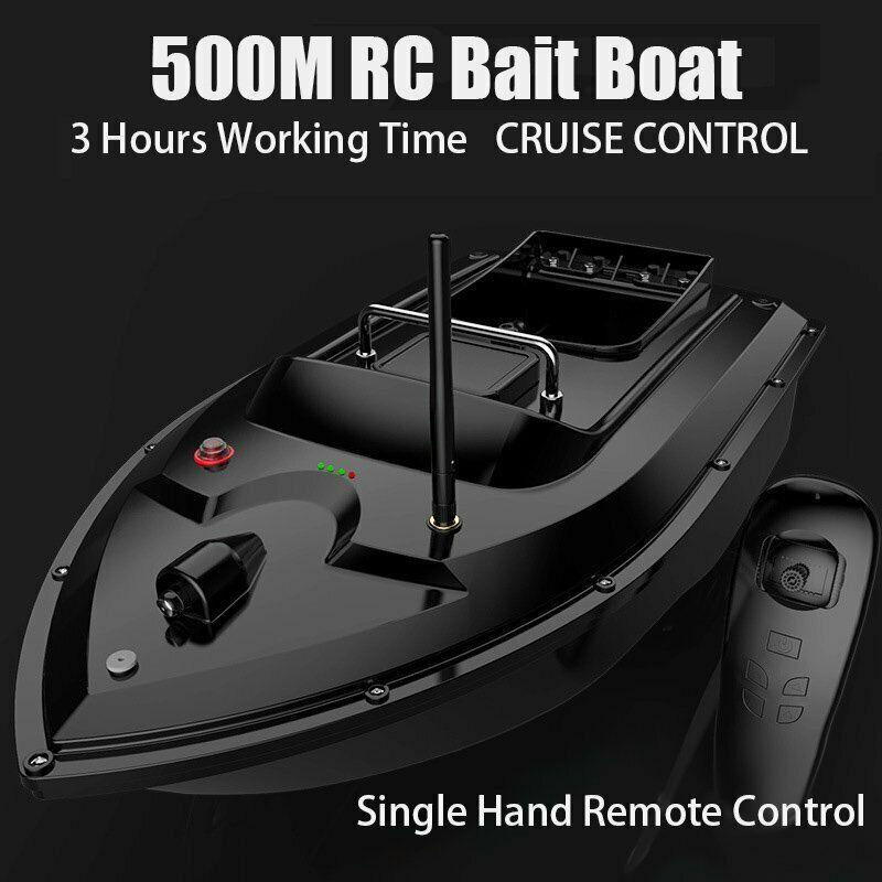 Black Fishing Bait Boat 500M Wireless RC Carp Fishing Boat 2 Motors Single Hand Control Hook Post Speedboat Angling Helper enlarge