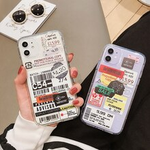 Funda de teléfono bonita para iPhone XS X Max Xr 11 Pro MAX 7 8 6 6S Plus, carcasa con etiqueta INS, Funda suave de TPU de caramelo transparente