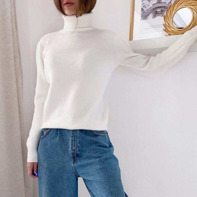 Gigogou mulher suéteres estilo coreano outono inverno gola alta roupas femininas manga longa pulôver malhas superior sueter mujer femme