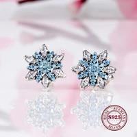 hot original 925 sterling silver sparkling sea blue zircon earrings blue snowflake earrings fashion versatile snowflake earring