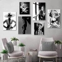 Affiche murale Sexy en noir et blanc pour femme  Art a la mode  peinture sur toile  decoration de maison moderne  HD0001