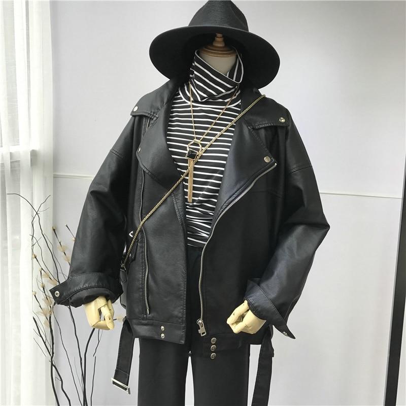 2021 Spring Black PU Leather Loose Turn-down Collar Zipper Fashion acket women jacket  jacket women  denim jacket women