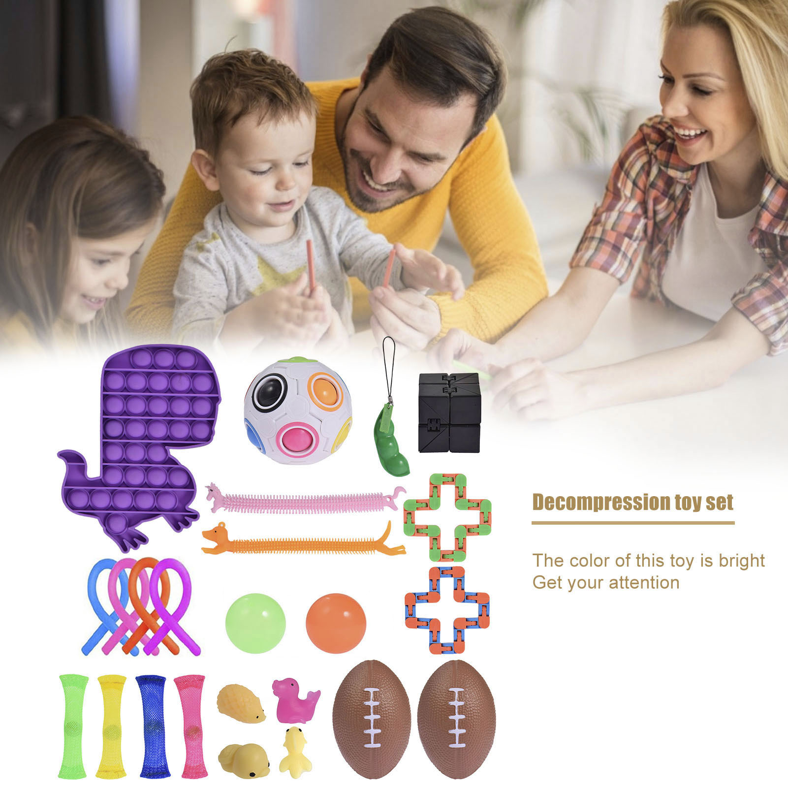 24PCS Sensory Fidget Toy Relief Autism Anxiety Bubble Toys Silicone Stress Relief Anti-Anxiety Toy For Kids Adults Stress Set enlarge