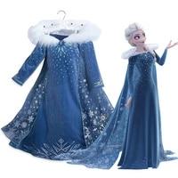 disney frozen elsa dress princess party vestidos cosplay girl clothing snow queen print birthday princess dress kids costume