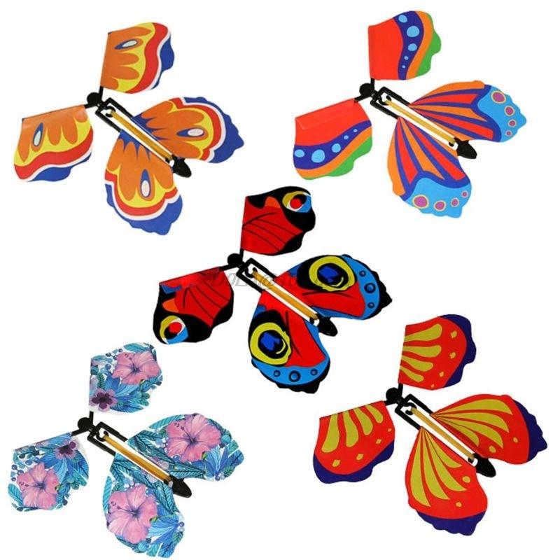 5 uds. MARIPOSA MÁGICA cartas voladoras de juguete con manos vacías, mariposa Solar, accesorios mágicos de boda, trucos de magia