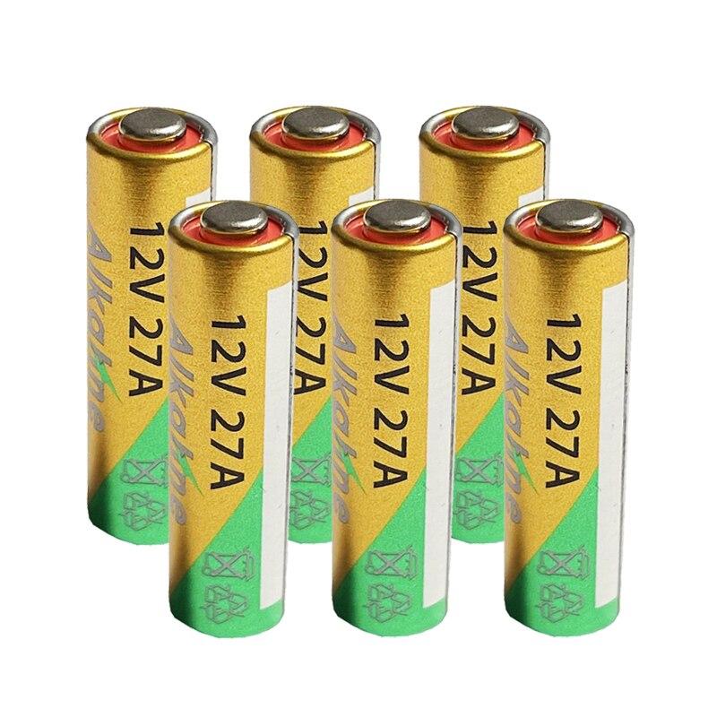 6 uds Batería alcalina 27A 12V A27 para timbre de alarma de...