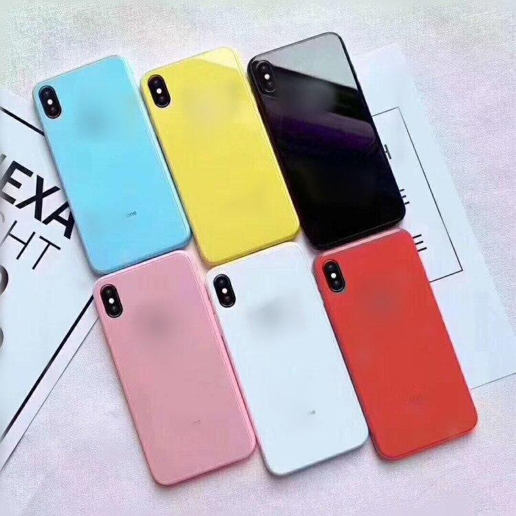 Espelho de vidro caso manteiga cor verde para iphone xr xs max 6s mais 7 8 plus chapeamento vidro duro magro capa traseira cor dos doces