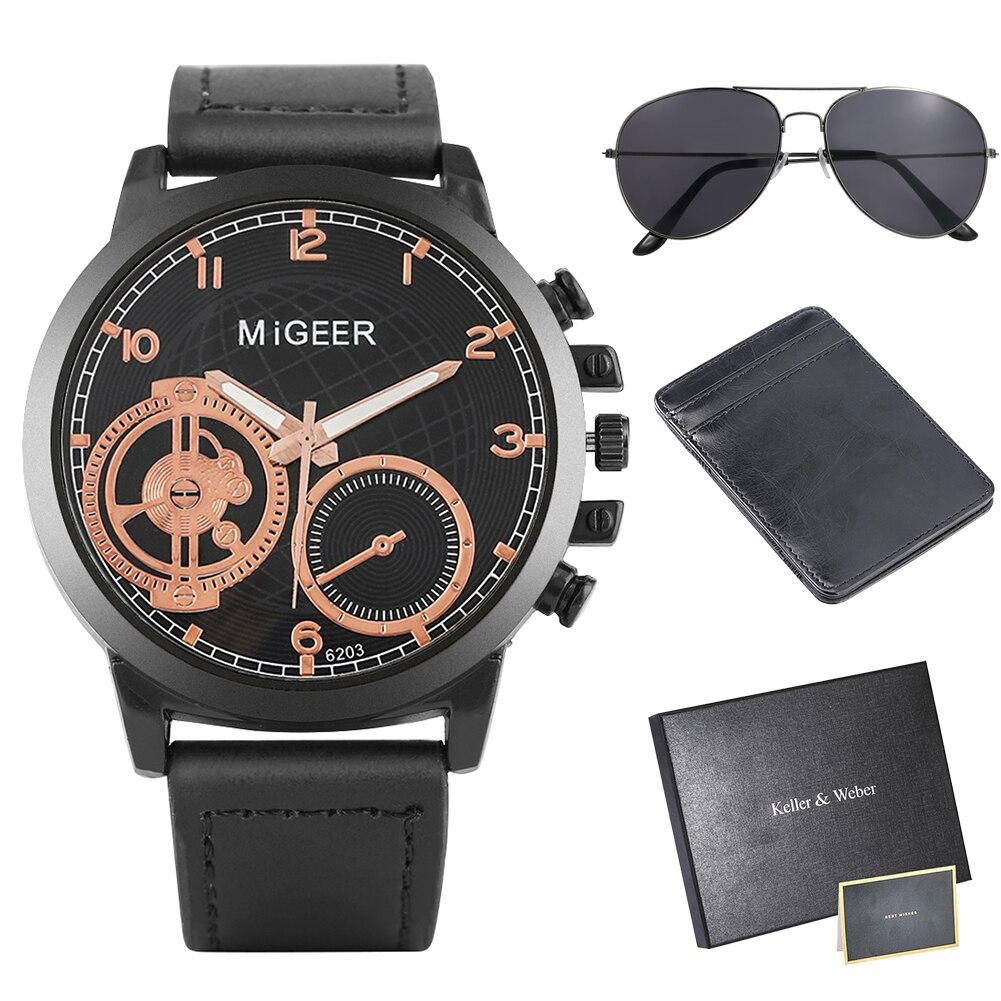 Мужские часы-кошелек, солнцезащитные очки, подарочный набор, кварцевые наручные часы, кожаный кошелек для кредитных карт, изысканные солнце...