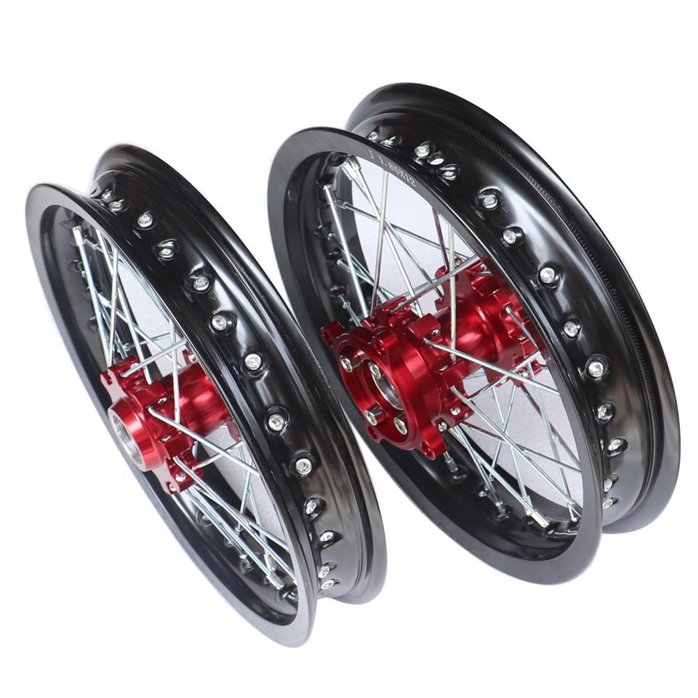 Llanta de rueda de aluminio de 12 pulgadas 15mm delantera 1,60x12 trasera 1,85x12 pulgadas con buje CNC para kawo HR-160cc TY150CC Dirt Pit bike