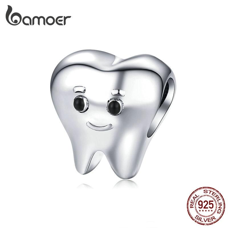 Bamoer Настоящее серебро 925 пробы прекрасный зуб металлический Шарм для серебряного браслета змеи Bijoux Cute Baby Dentist Bijoux SCC1401