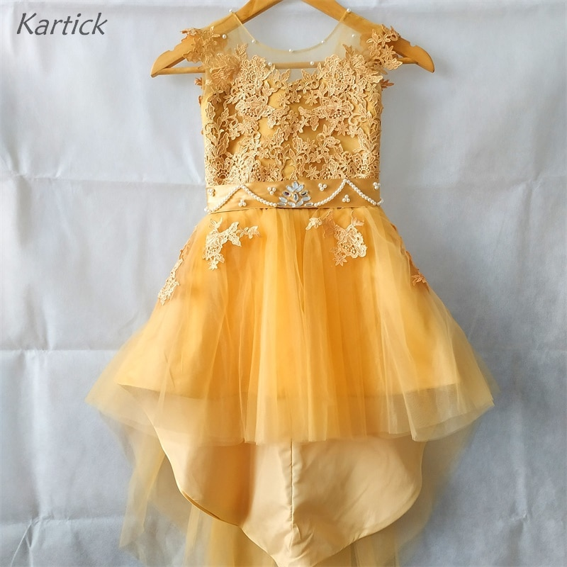 appliques flower girl dresses bow knot v neck kids pageant dress evening for party birthday hollow out princess dress b29 Brand New Flower Girl Dress for Wedding V-Back Girl's Pageant Gowns with Appliques Princess Birthday Party Kids/Children Dress