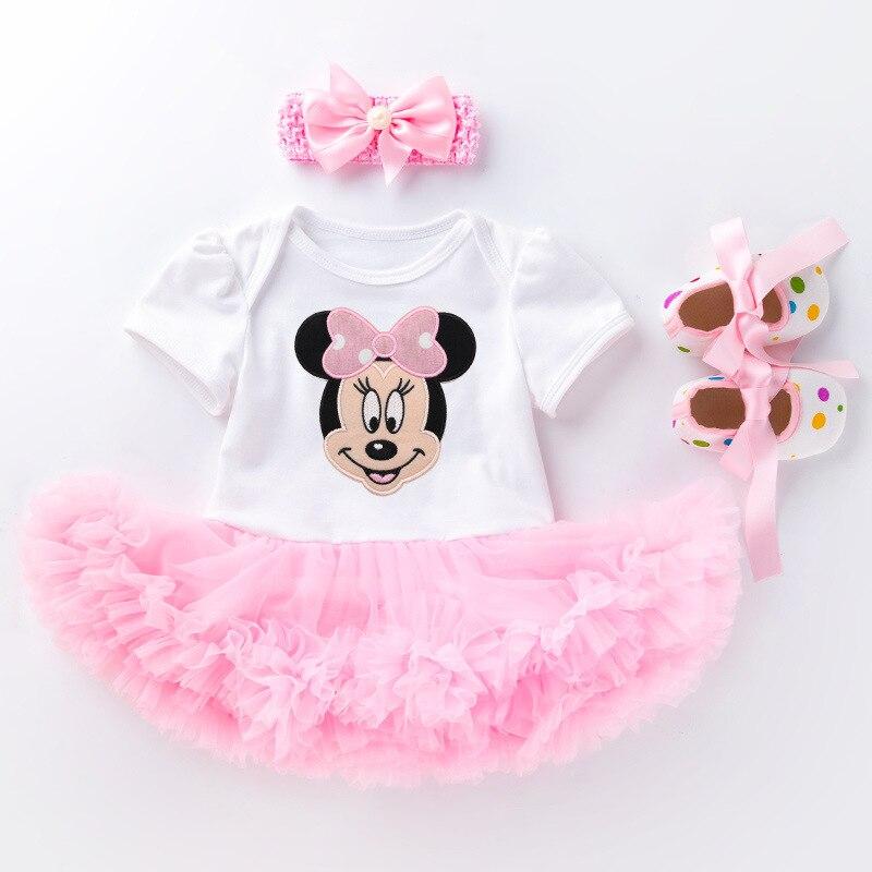 Monos Blancos con vestido con tutú Rosa bebé niño pequeño + diadema + zapatos/Body para bebé