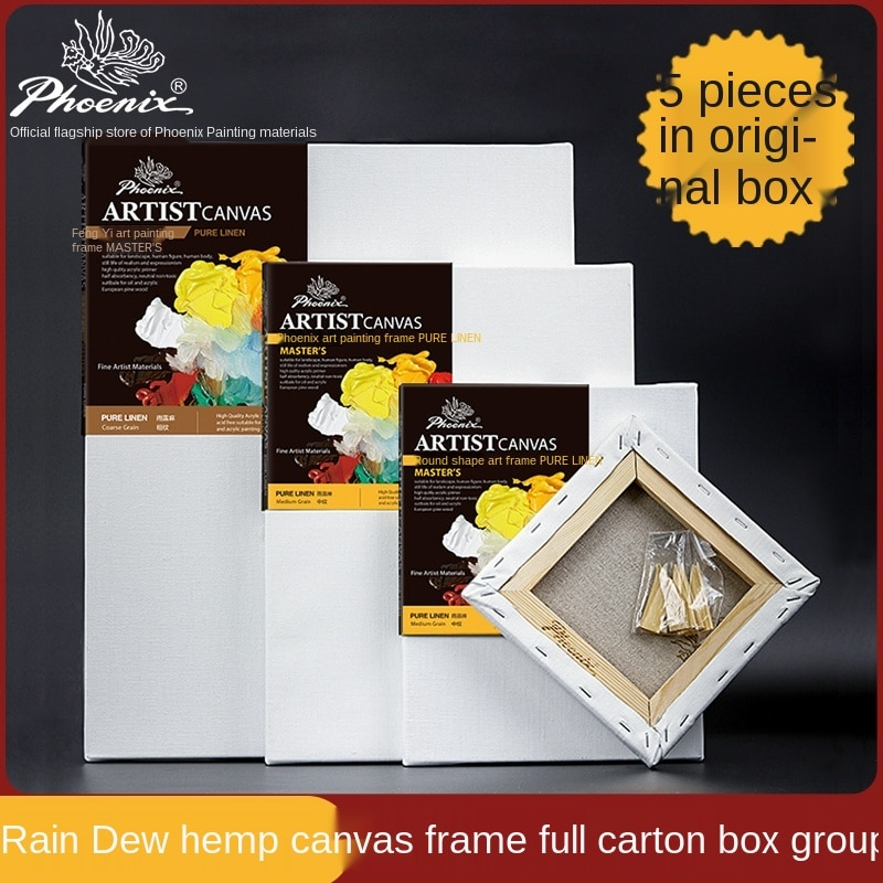 Phoenix Master Canvas Pure Linen 5 Pcs White Coating Suitable for Professional Oil Painting and Acrylic Medium Grain