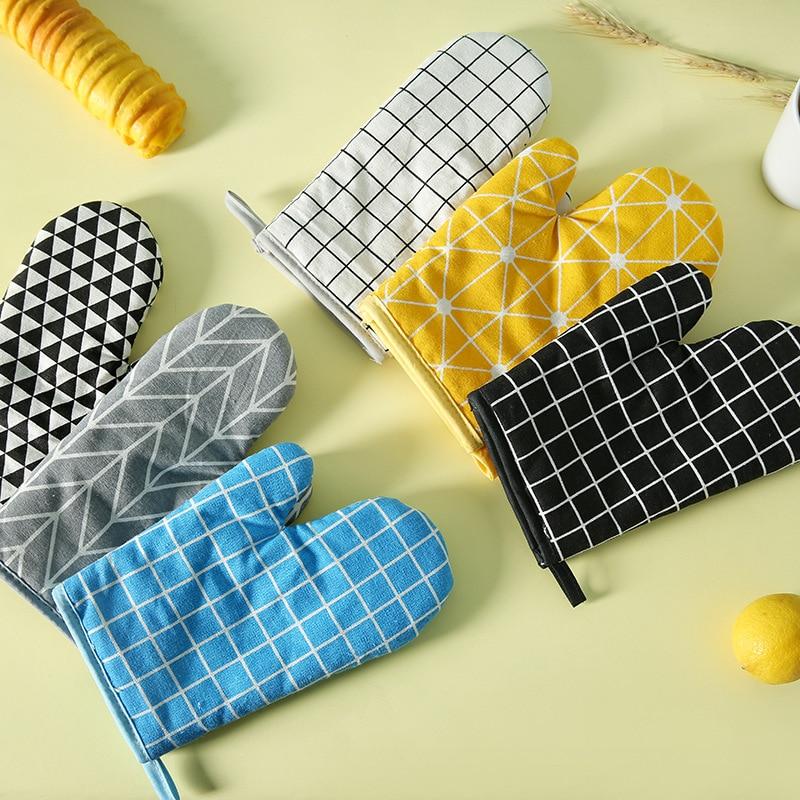 1 шт. Нескользящая силиконовая варежка для духовки хлопковые термостойкие перчатки для выпечки перчатка для приготовления пищи для микрово...