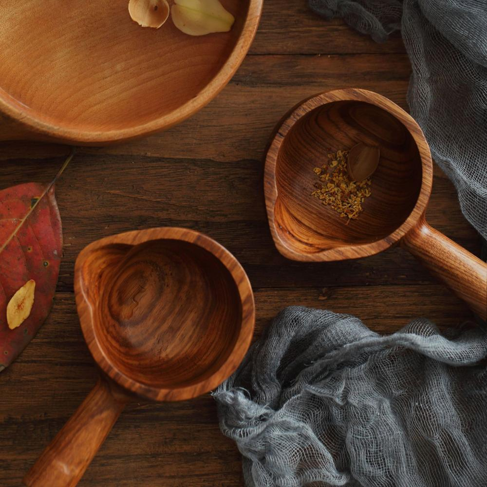 12*8*5.5cm Japanese retro mini wood scoop Creative wooden water baler with handle water spoon kitchen wooden tableware