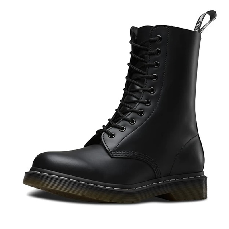 Femmes bottes en cuir véritable bottes imperméables Martens femmes automne bottes Mujer bota femme confortable chaussure 2020