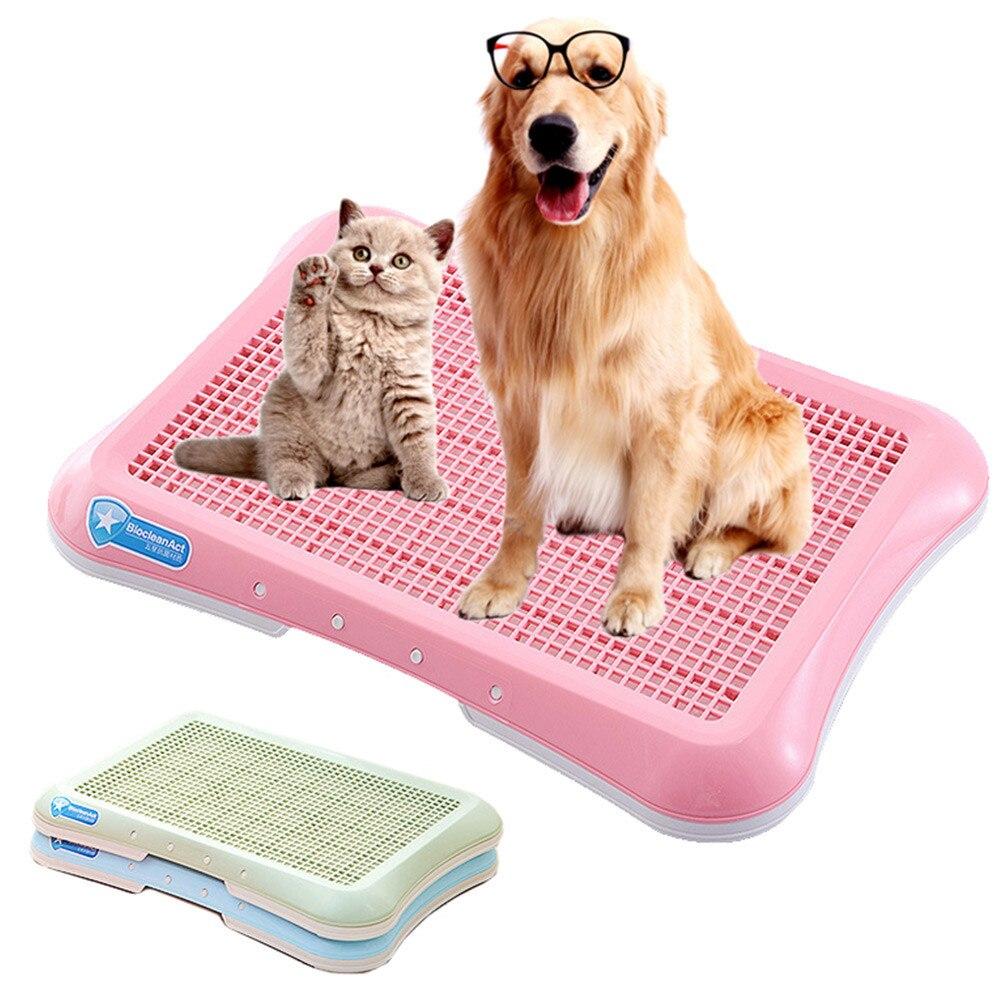 Inodoro de plástico para perros, orinal para mascotas, almohadilla de entrenamiento para perros, gatos, cachorros, bandeja de arena, orinal para perros, esterilla de entrenamiento para el baño, suministros para el cuidado de mascotas