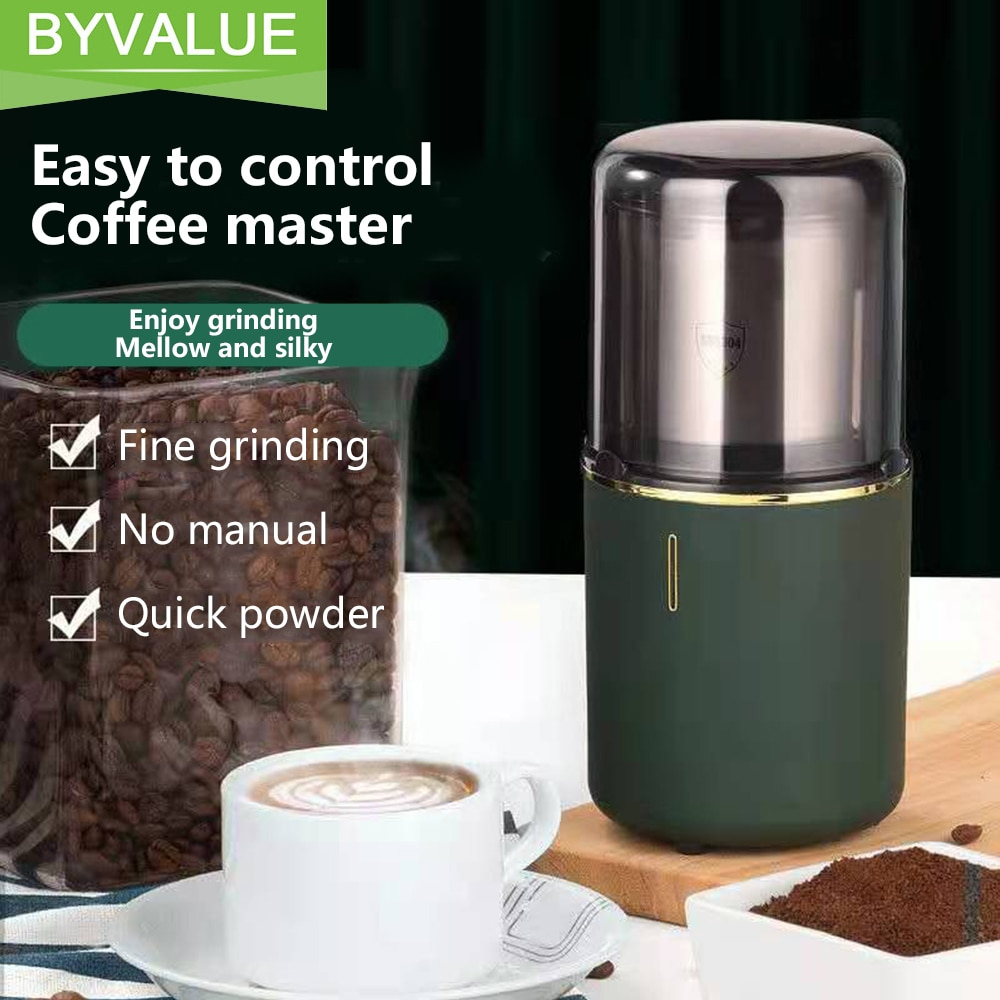 Byvalue ماكينة القهوة متعددة الوظائف مطحنة بن كهربائية المطبخ الحبوب الجوز الفول التوابل الطب الصيني طاحونة