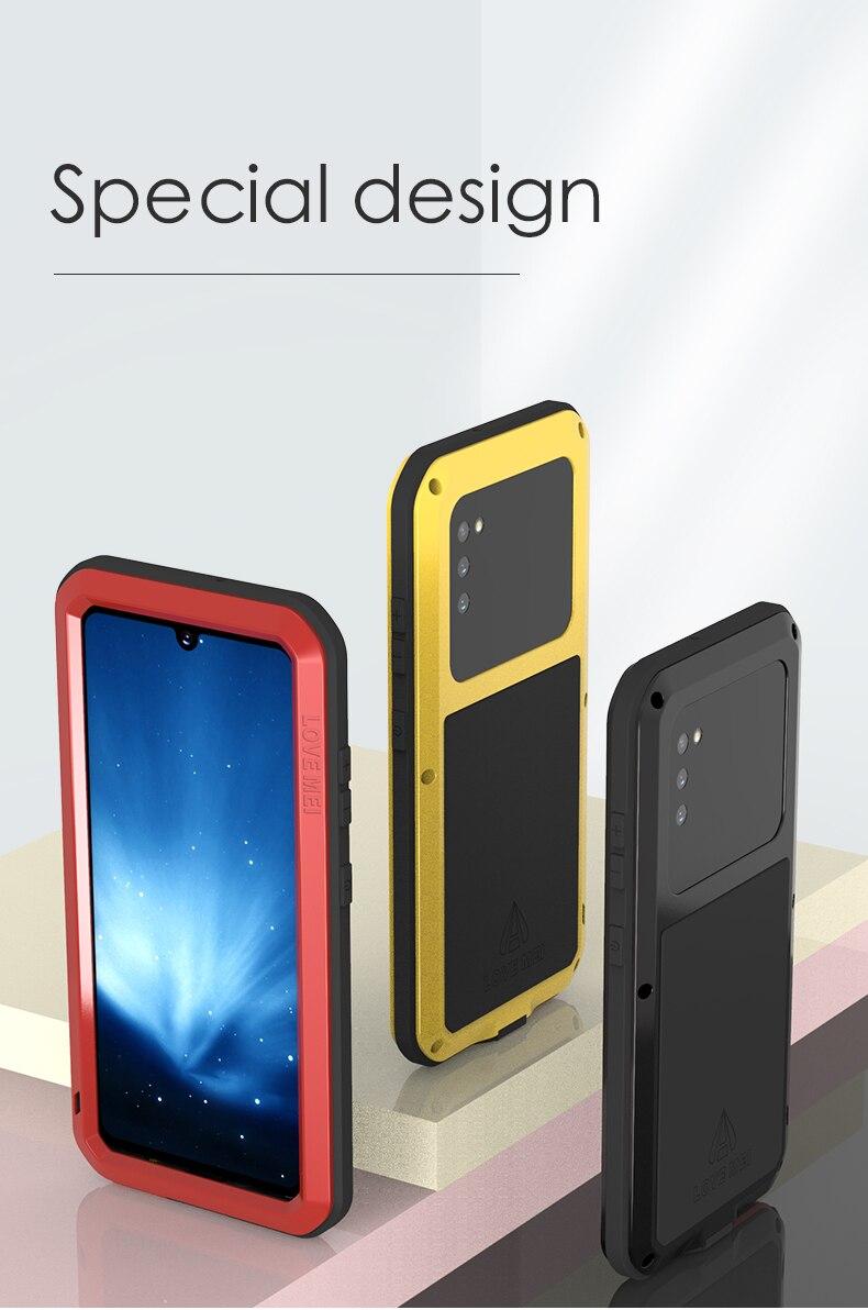 Para Samsung Galaxy A41 funda LOVE MEI a prueba de polvo resistente al agua carcasa de Metal para teléfono Samsung Galaxy A41