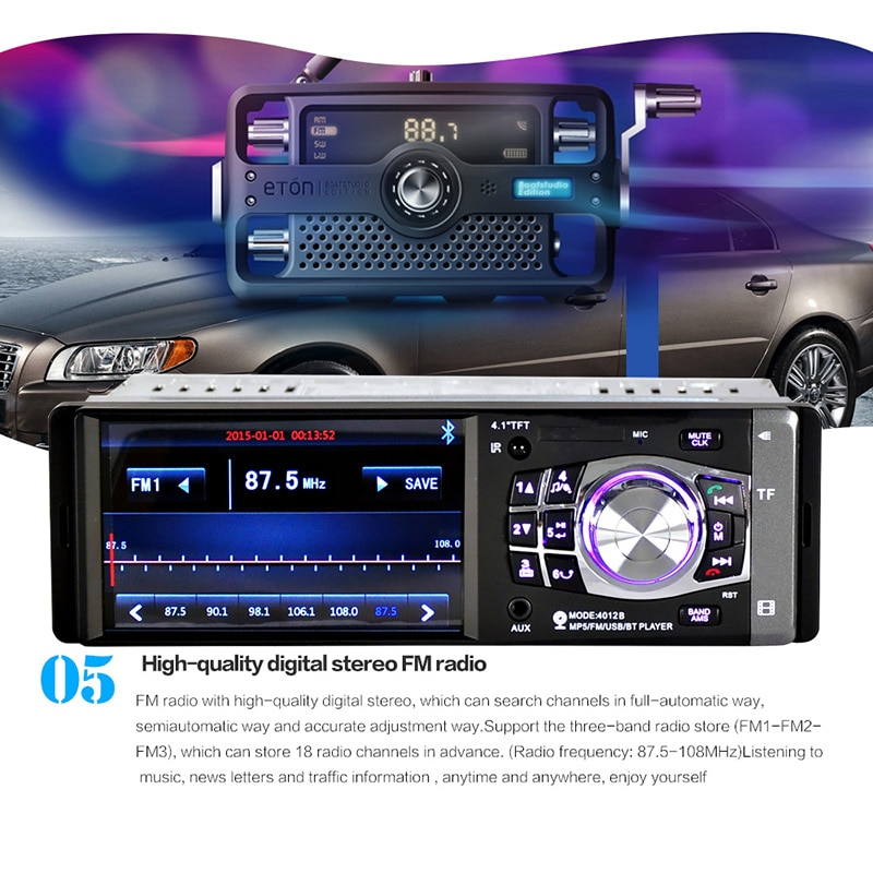 "Reproductor de MP4 2 DIN 4,1 ""con Bluetooth para coche, reproductor Multimedia Universal para coche, autorradio estéreo, reproductor Multimedia MP5, receptor de entrada auxiliar FM"